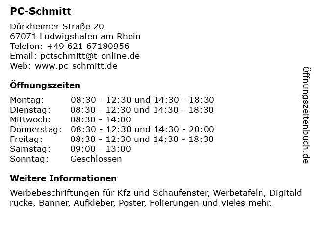 PC-Schmitt in Ludwigshafen am Rhein: Adresse und Öffnungszeiten