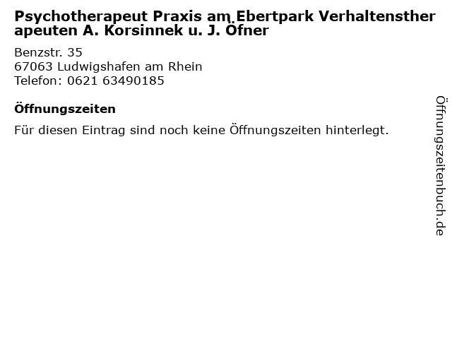Psychotherapeut Praxis am Ebertpark Verhaltenstherapeuten A. Korsinnek u. J. Öfner in Ludwigshafen am Rhein: Adresse und Öffnungszeiten