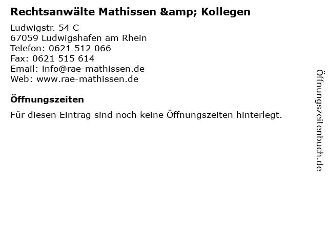 Rechtsanwälte Mathissen & Kollegen in Ludwigshafen am Rhein: Adresse und Öffnungszeiten