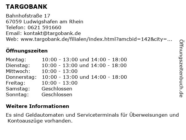 TARGOBANK in Ludwigshafen am Rhein: Adresse und Öffnungszeiten