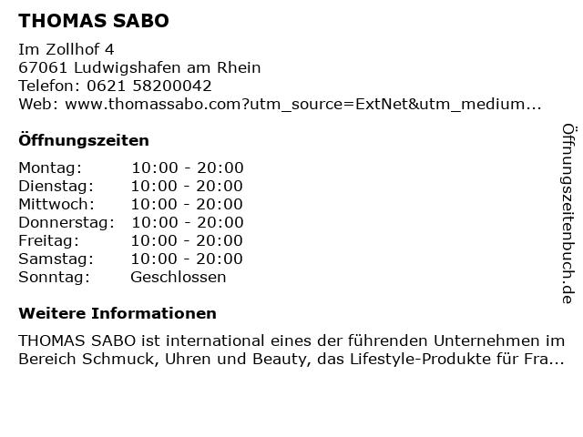 Thomas Sabo in Ludwigshafen am Rhein: Adresse und Öffnungszeiten