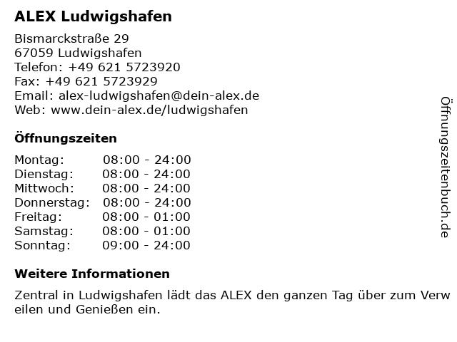 ALEX Ludwigshafen in Ludwigshafen: Adresse und Öffnungszeiten
