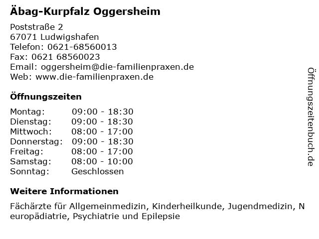 Äbag-Kurpfalz Oggersheim in Ludwigshafen: Adresse und Öffnungszeiten