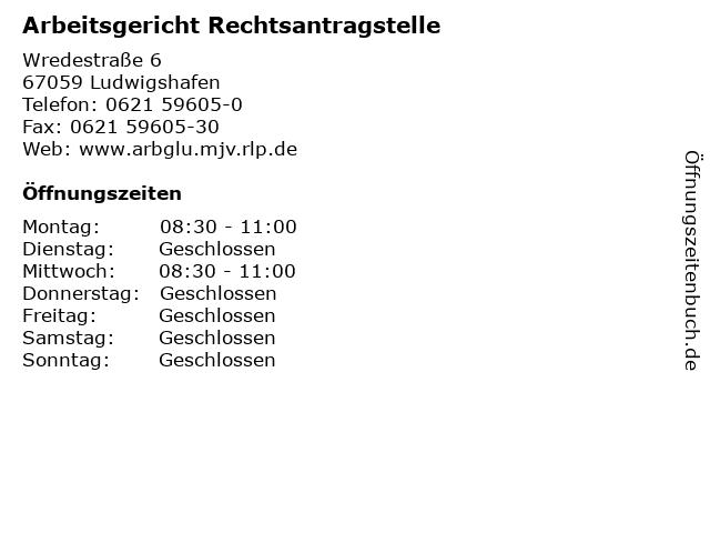 Arbeitsgericht Rechtsantragstelle in Ludwigshafen: Adresse und Öffnungszeiten
