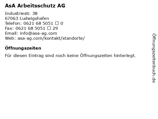 AsA Arbeitsschutz AG in Ludwigshafen: Adresse und Öffnungszeiten