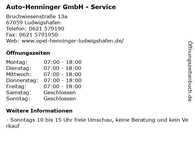 Auto-Henninger GmbH - Service in Ludwigshafen: Adresse und Öffnungszeiten