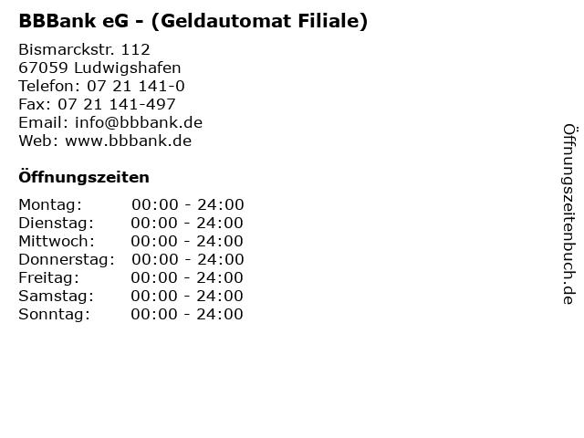 BBBank eG - (Geldautomat Filiale) in Ludwigshafen: Adresse und Öffnungszeiten