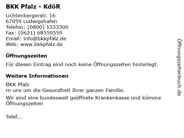 BKK Pfalz - KdöR in Ludwigshafen: Adresse und Öffnungszeiten