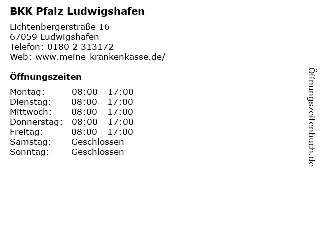 BKK Pfalz Ludwigshafen in Ludwigshafen: Adresse und Öffnungszeiten