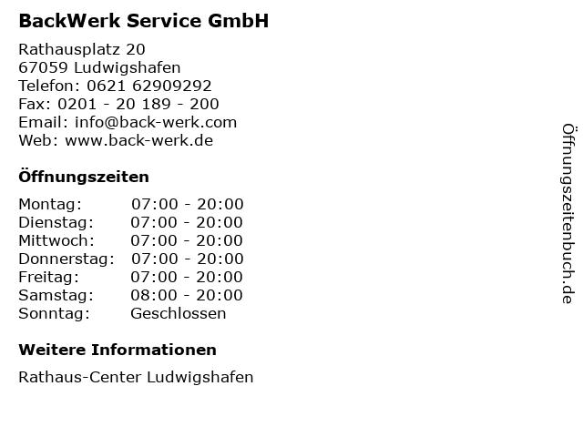 BackWerk Service GmbH in Ludwigshafen: Adresse und Öffnungszeiten