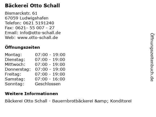Bäckerei Otto Schall in Ludwigshafen: Adresse und Öffnungszeiten