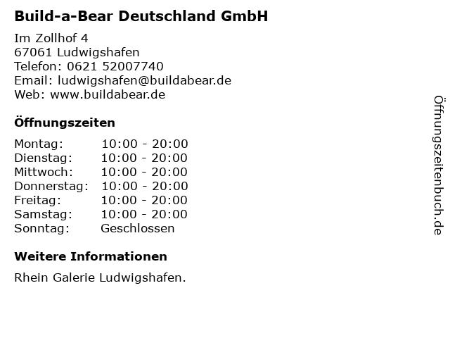 Build-a-Bear Deutschland GmbH in Ludwigshafen: Adresse und Öffnungszeiten