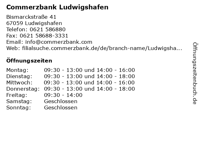 Commerzbank Ludwigshafen in Ludwigshafen: Adresse und Öffnungszeiten