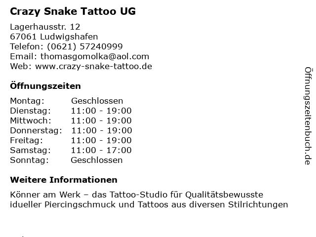 Crazy Snake Tattoo UG in Ludwigshafen: Adresse und Öffnungszeiten