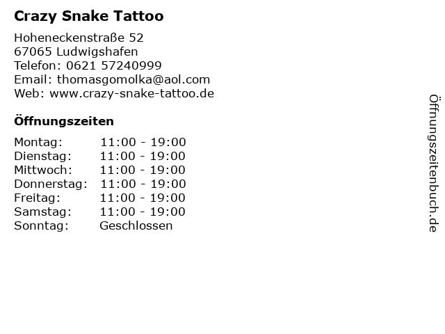 Crazy Snake Tattoo in Ludwigshafen: Adresse und Öffnungszeiten