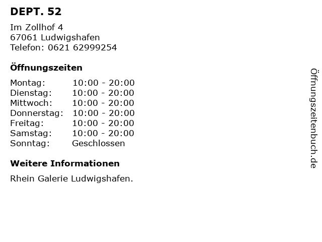 DEPT. 52 in Ludwigshafen: Adresse und Öffnungszeiten