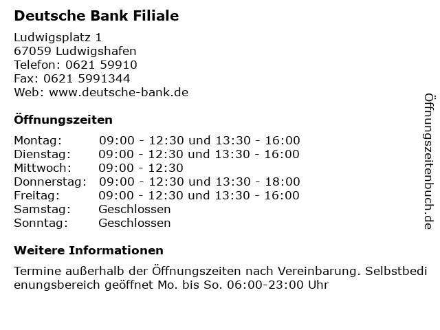 Deutsche Bank Filiale in Ludwigshafen: Adresse und Öffnungszeiten