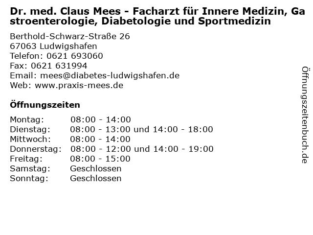 Dr. med. Claus Mees - Facharzt für Innere Medizin, Gastroenterologie, Diabetologie und Sportmedizin in Ludwigshafen: Adresse und Öffnungszeiten