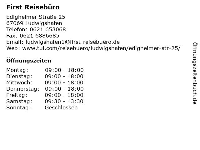 FIRST REISEBÜRO in Ludwigshafen: Adresse und Öffnungszeiten