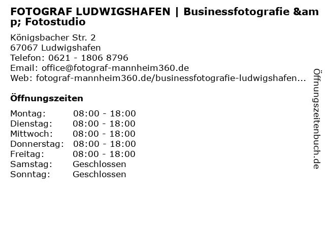 FOTOGRAF LUDWIGSHAFEN | Businessfotografie & Fotostudio in Ludwigshafen: Adresse und Öffnungszeiten