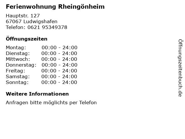 Ferienwohnung Rheingönheim in Ludwigshafen: Adresse und Öffnungszeiten