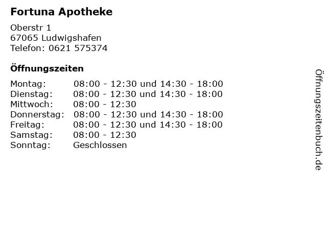 Fortuna Apotheke in Ludwigshafen: Adresse und Öffnungszeiten