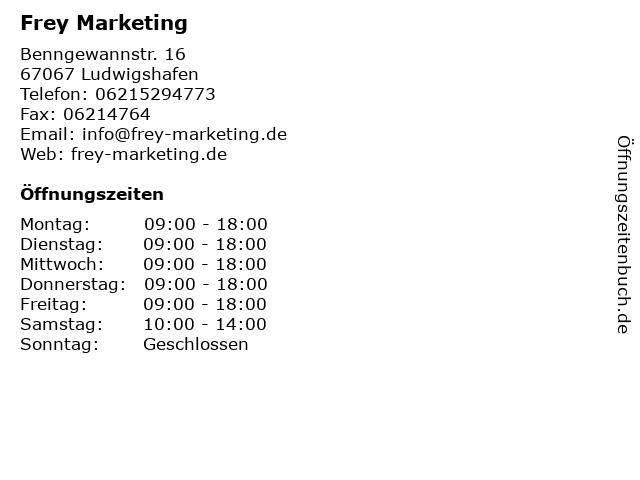 Frey Marketing in Ludwigshafen: Adresse und Öffnungszeiten