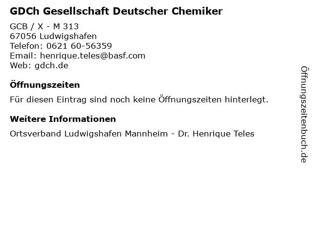 GDCh Gesellschaft Deutscher Chemiker in Ludwigshafen: Adresse und Öffnungszeiten