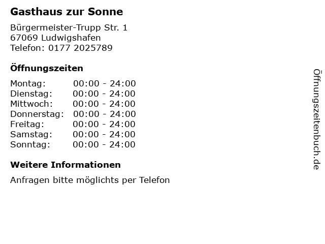 Gasthaus zur Sonne in Ludwigshafen: Adresse und Öffnungszeiten