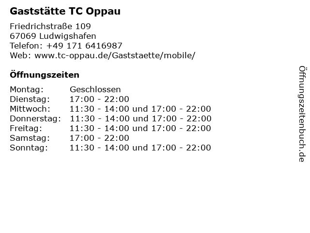 Gaststätte TC Oppau in Ludwigshafen: Adresse und Öffnungszeiten