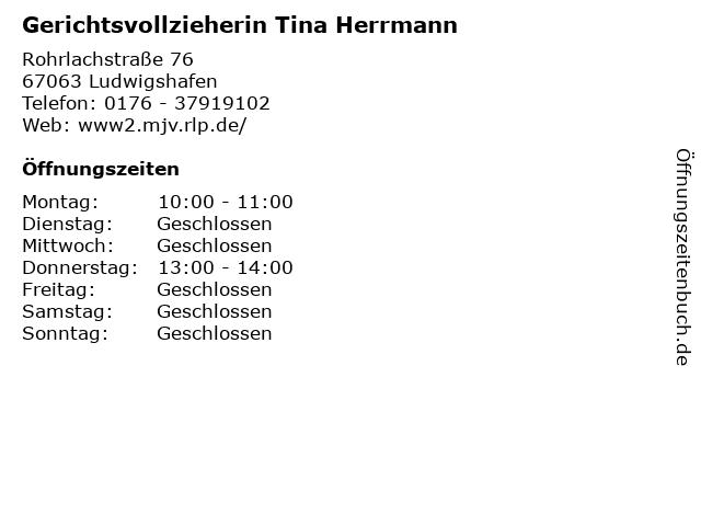 Gerichtsvollzieherin Tina Herrmann in Ludwigshafen: Adresse und Öffnungszeiten