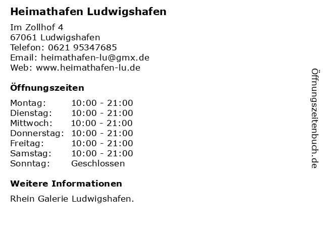 Heimathafen Ludwigshafen in Ludwigshafen: Adresse und Öffnungszeiten
