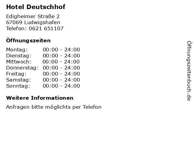 Hotel Deutschhof in Ludwigshafen: Adresse und Öffnungszeiten