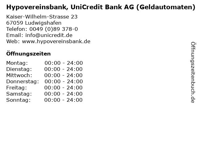 Hypovereinsbank, UniCredit Bank AG (Geldautomaten) in Ludwigshafen: Adresse und Öffnungszeiten