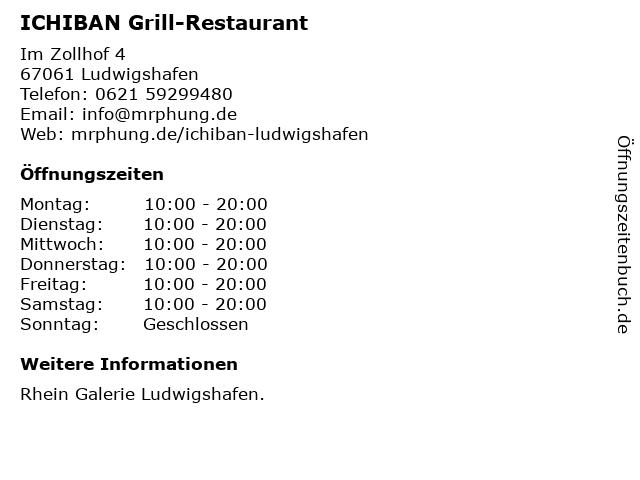 ICHIBAN Grill-Restaurant in Ludwigshafen: Adresse und Öffnungszeiten