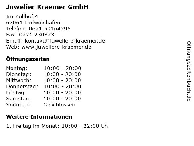 Juwelier Kraemer GmbH in Ludwigshafen: Adresse und Öffnungszeiten