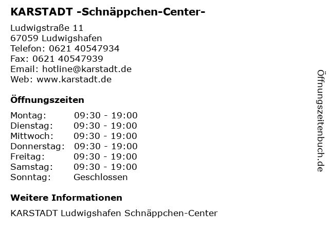 KARSTADT -Schnäppchen-Center- in Ludwigshafen: Adresse und Öffnungszeiten