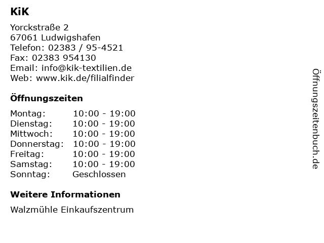 KiK in Ludwigshafen: Adresse und Öffnungszeiten