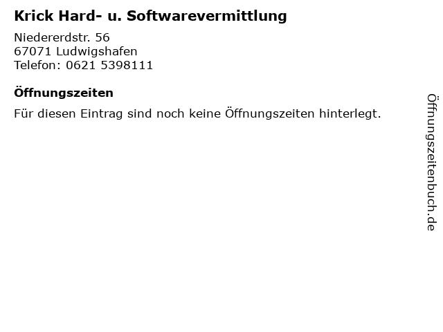 Krick Hard- u. Softwarevermittlung in Ludwigshafen: Adresse und Öffnungszeiten