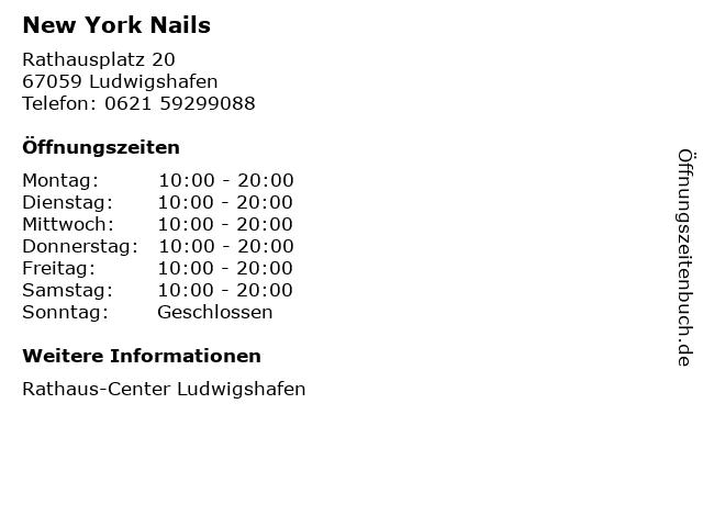 New York Nails in Ludwigshafen: Adresse und Öffnungszeiten