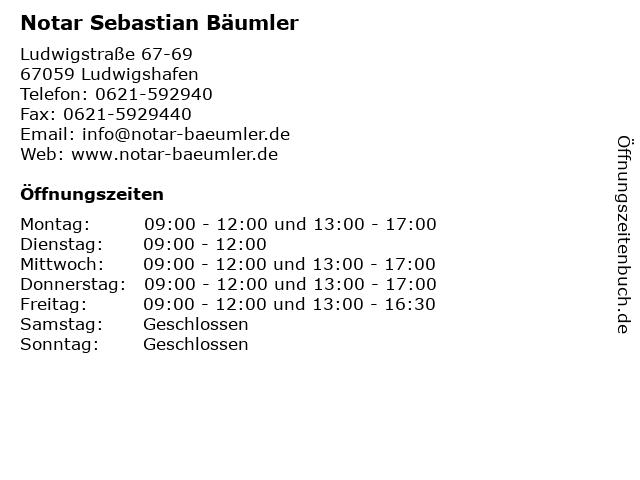 Notar Sebastian Bäumler in Ludwigshafen: Adresse und Öffnungszeiten