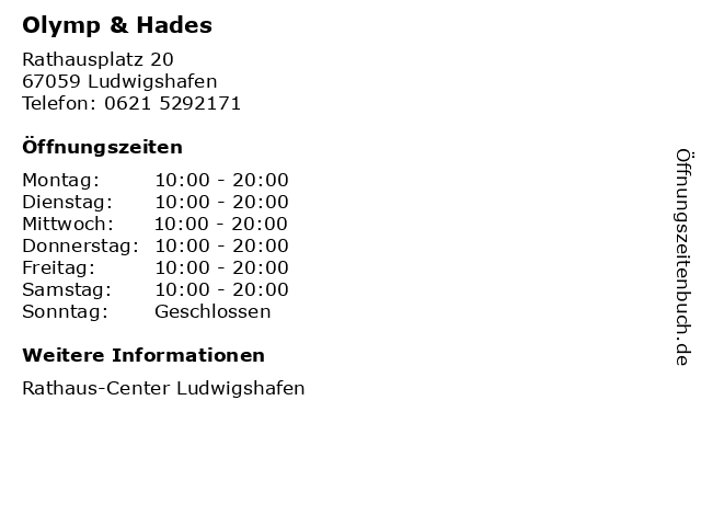 Olymp & Hades in Ludwigshafen: Adresse und Öffnungszeiten