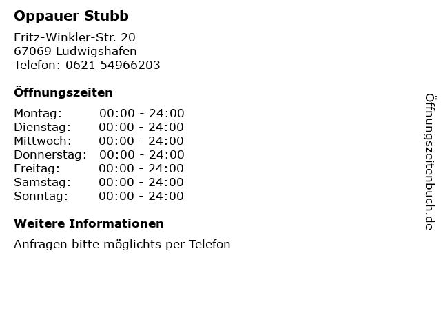 Oppauer Stubb in Ludwigshafen: Adresse und Öffnungszeiten