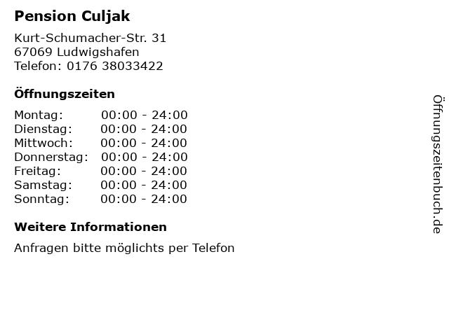 Pension Culjak in Ludwigshafen: Adresse und Öffnungszeiten