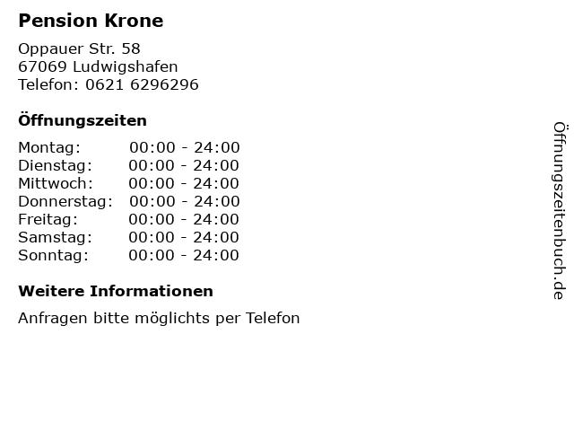 Pension Krone in Ludwigshafen: Adresse und Öffnungszeiten