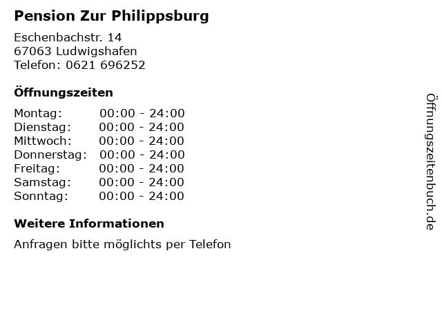 Pension Zur Philippsburg in Ludwigshafen: Adresse und Öffnungszeiten