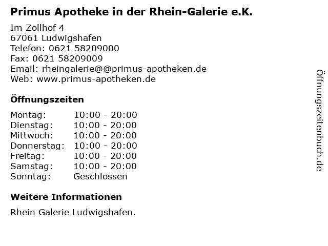 Primus Apotheke in der Rhein-Galerie e.K. in Ludwigshafen: Adresse und Öffnungszeiten
