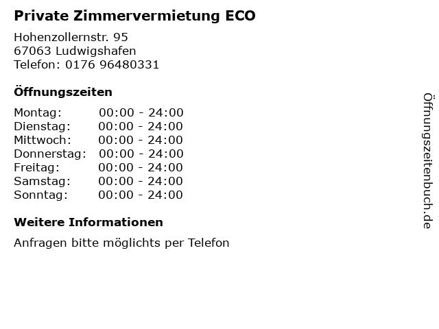 Private Zimmervermietung ECO in Ludwigshafen: Adresse und Öffnungszeiten