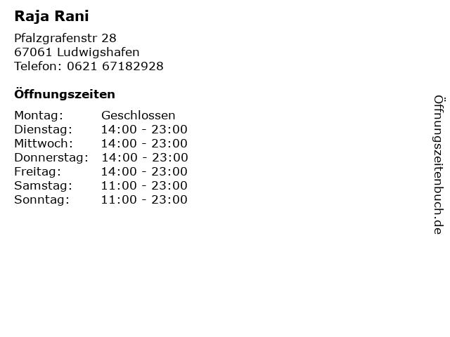 Raja Rani in Ludwigshafen: Adresse und Öffnungszeiten