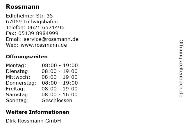 Rossmann in Ludwigshafen: Adresse und Öffnungszeiten
